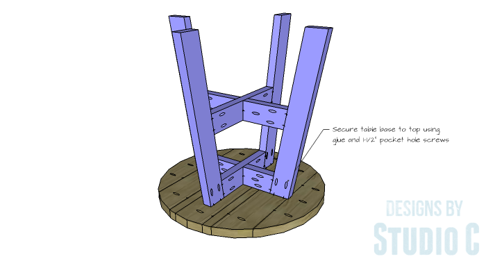 DIY Furniture Plans to Build a Round Cross Base Table - Base 4