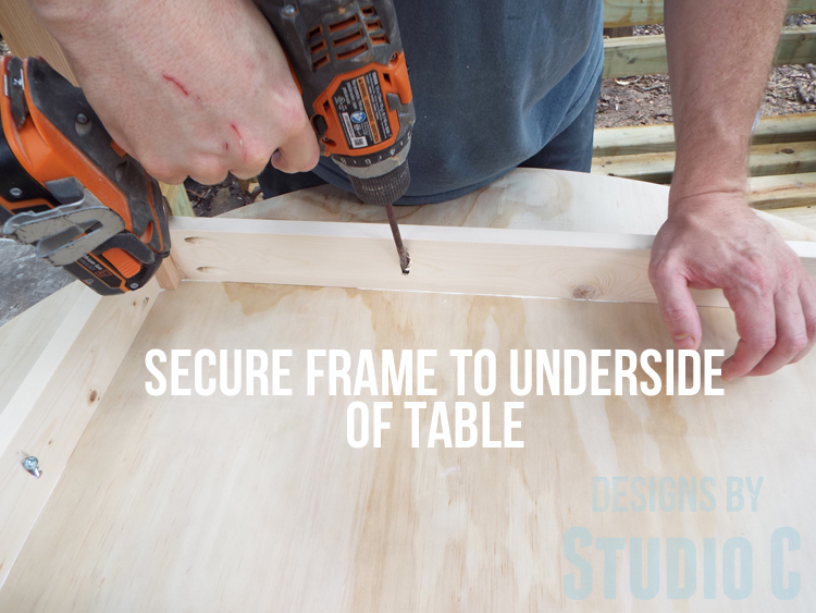 DIY Furniture Plans to Build a Simple Round Dining Table - Securing frame to table top