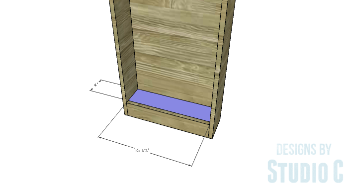 DIY Furniture Plans to Build a Dresser with Side Storage - Bottom (Bookcase)
