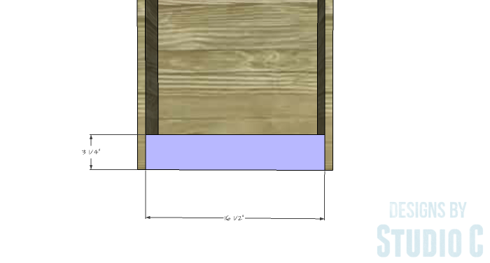DIY Furniture Plans to Build a Dresser with Side Storage - Lower Stretcher (Bookcase)