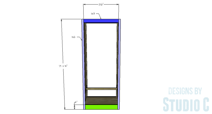 DIY Furniture Plans to Build a Freestanding Open Clothes Wardrobe - Front & Back Face Frames