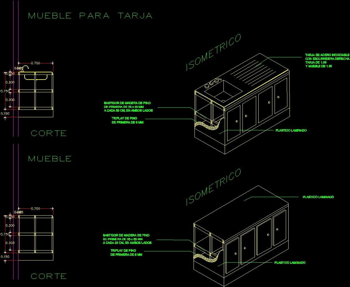 Autocad Muebles Kitchen Furniture Dwg Section For Autocad Designs Cad