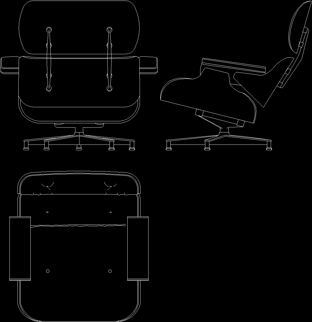 Eames Chair Autocad Block Charles Eames Lounge Chair 1956 Dwg Block For Autocad