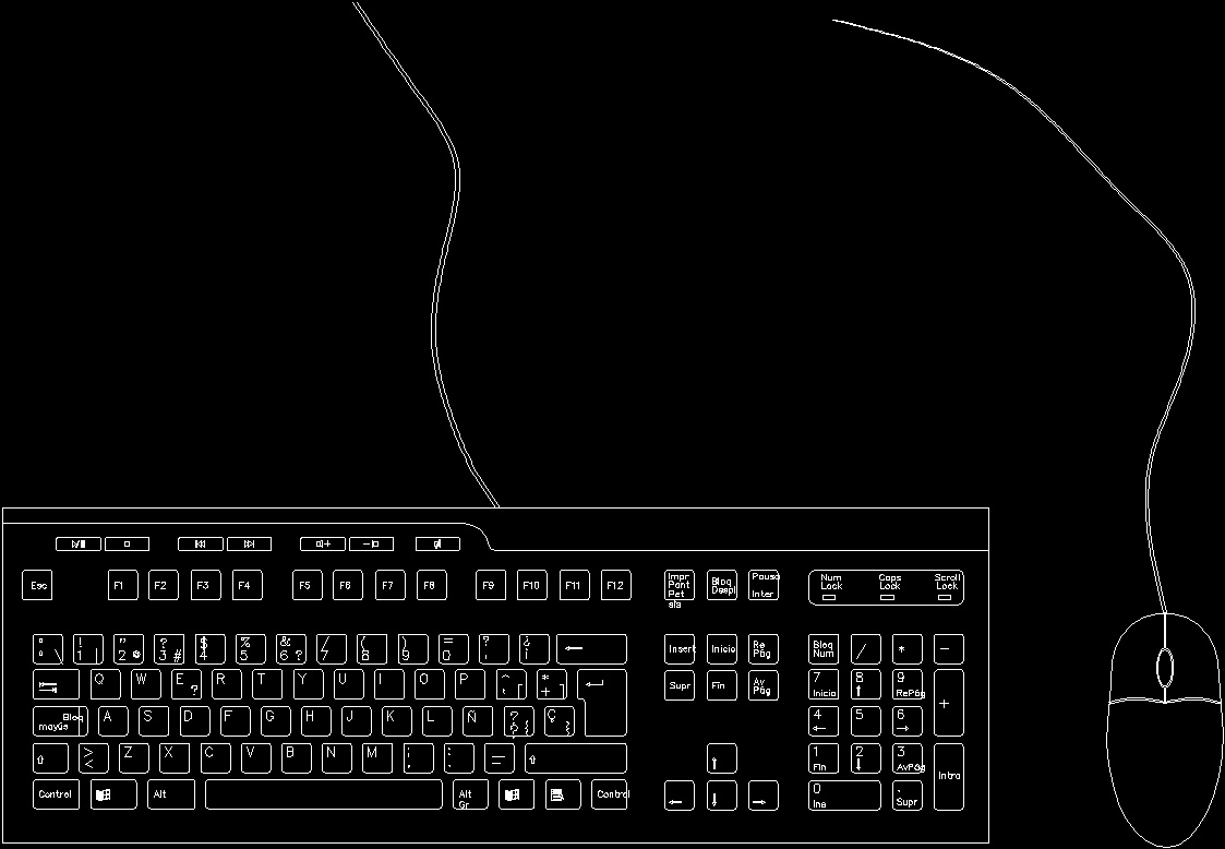 Project Möbel Windows Keyboard And Mouse ( Maximum Detail) Dwg Plan For