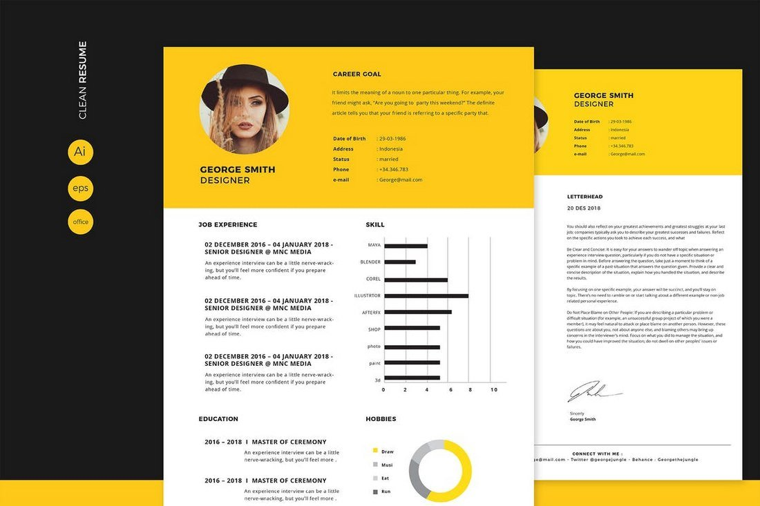 template illustrator cv gratuit