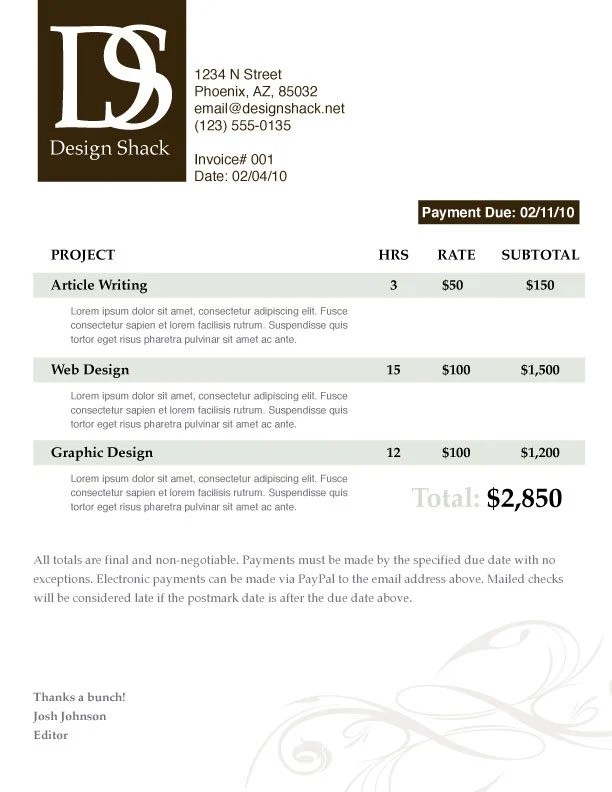 Creating a Well Designed Invoice Step-by-Step Design Shack - designing an invoice