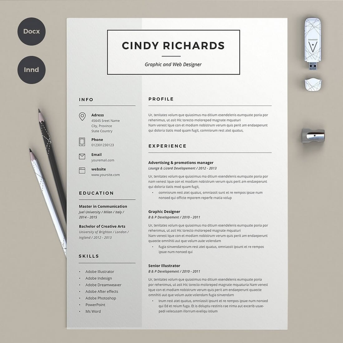 cv original adobe indesign