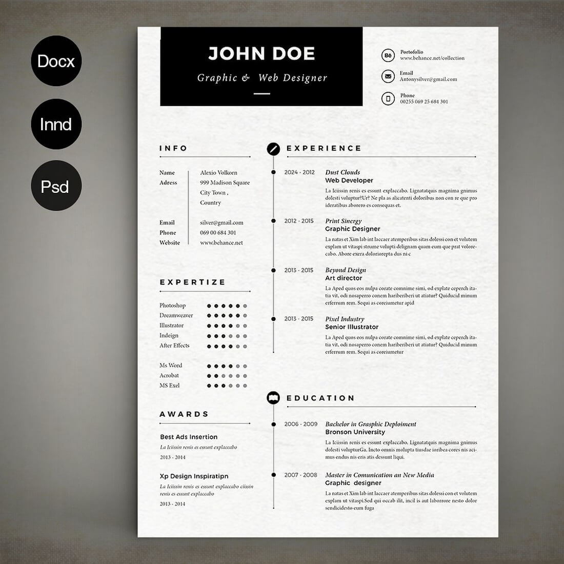 cv design et simple