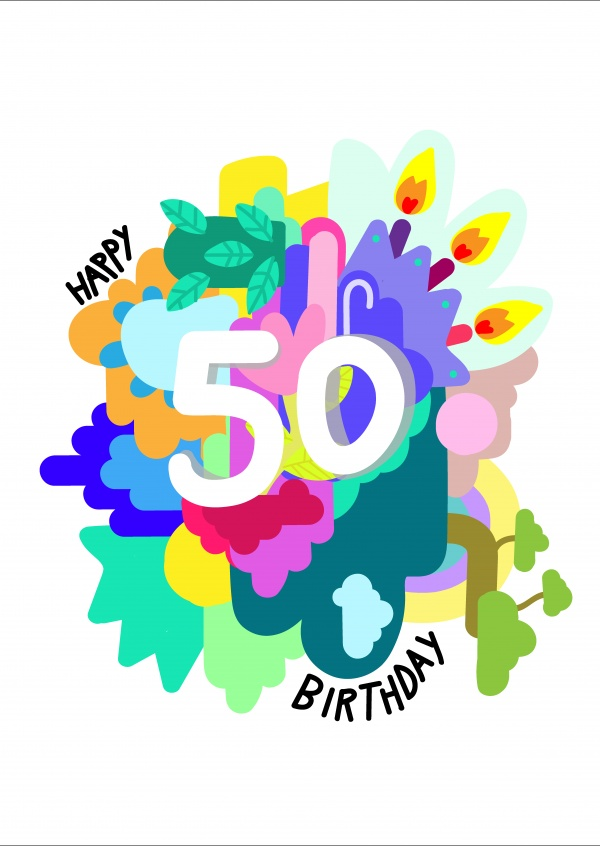 Happy 50 birthday Feliz Aniversário Enviar online cartões