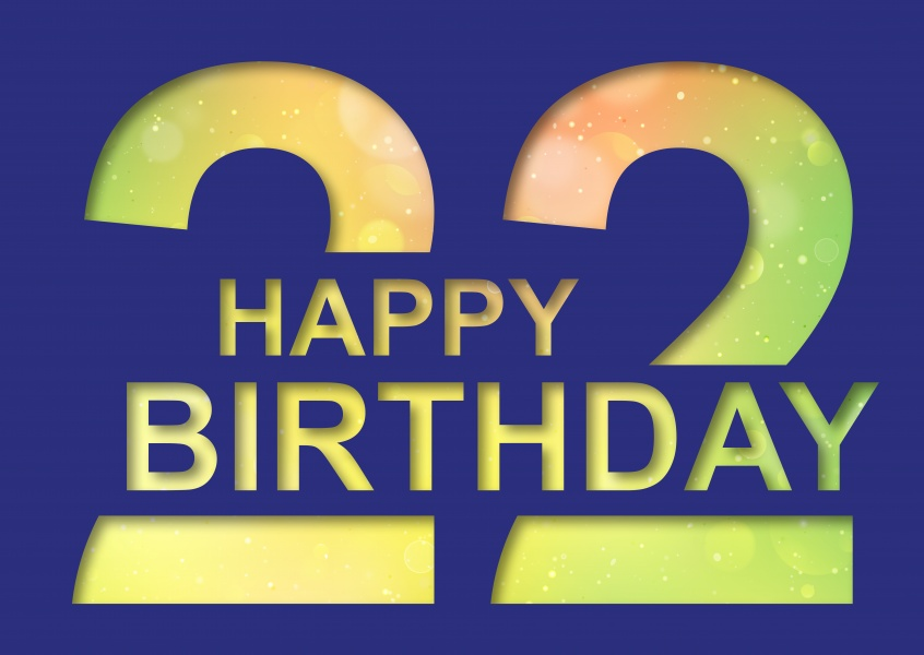22 years Happy Birthday Cards Send real postcards online - birthday card layout