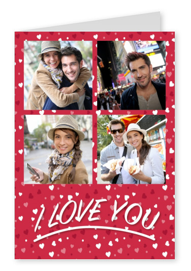 Free Printable I love you Photo Cards Templates Print and Mailed - postcard collage template