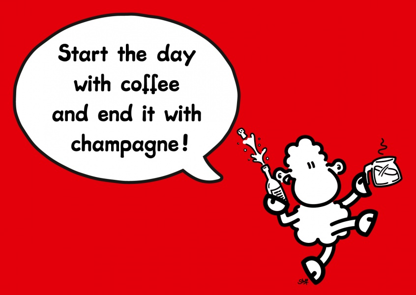 Champagne Comic Cartoon Cards Send Real Postcards Online
