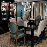 Teal Accent Wall Dining Room - Native Home Garden Design