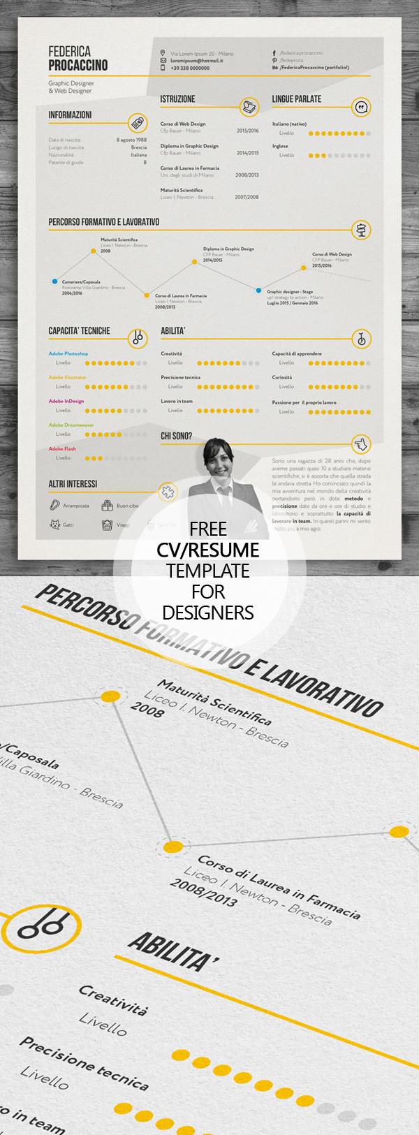 06 Free Creative Freelancer Designer Resume Template (PSD)