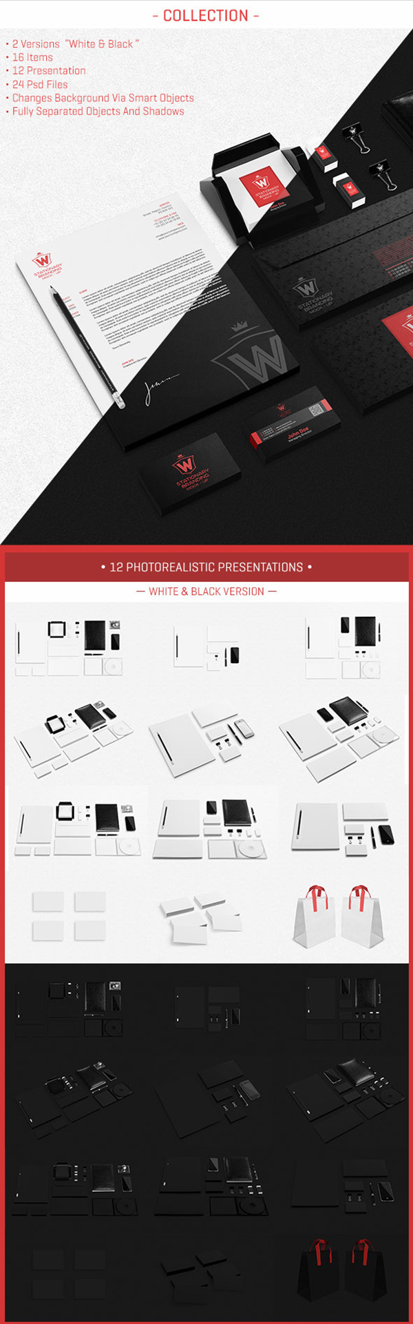 07 Stationery Branding Mock-Up Black