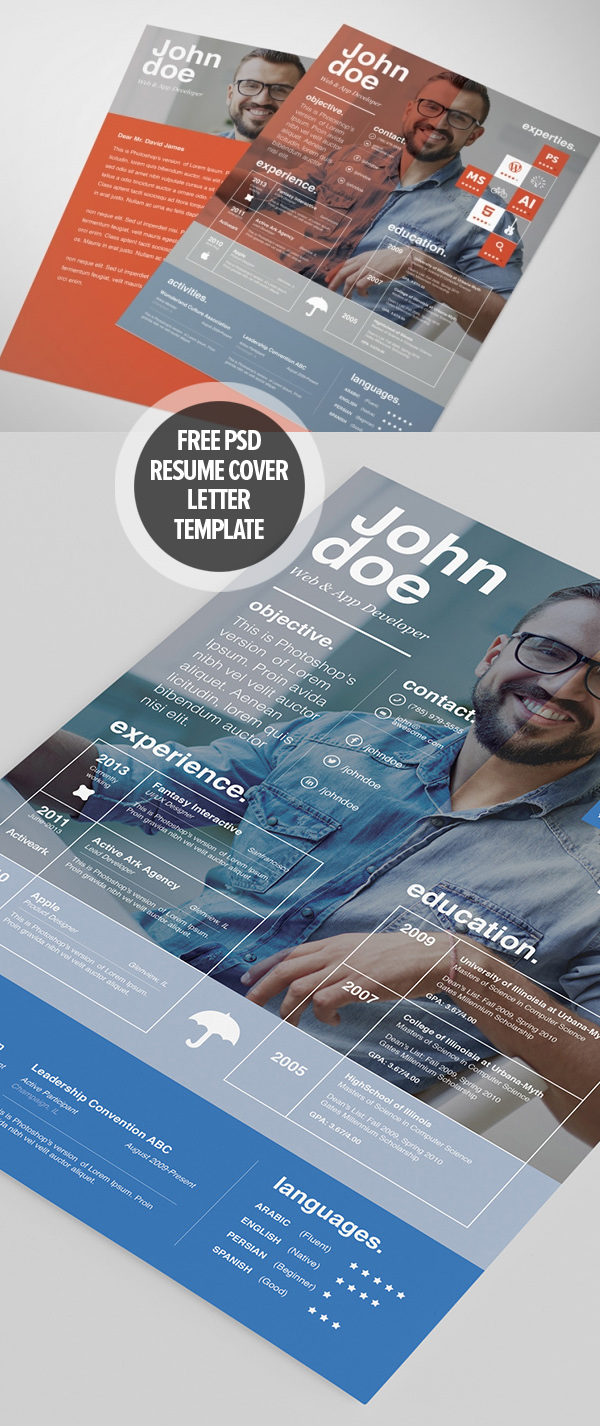 22 Free Professional Cv/Resume And Cover Letter Psd Templates