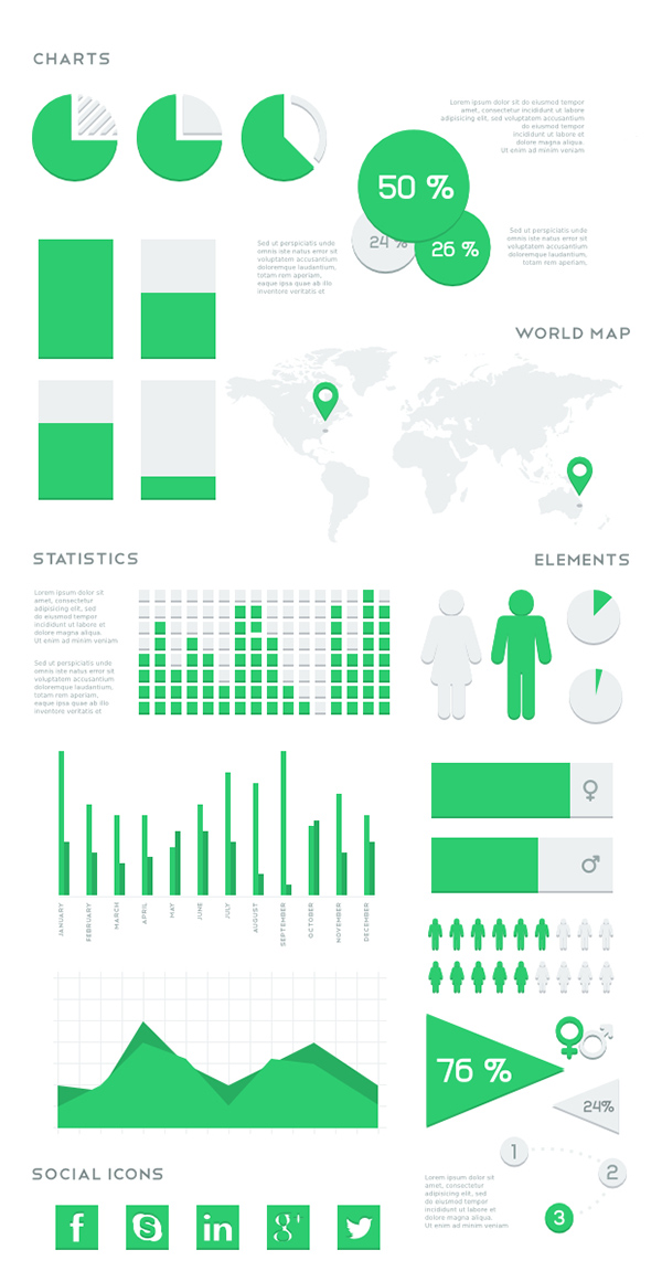 03 Flat Vector Infographic Kit