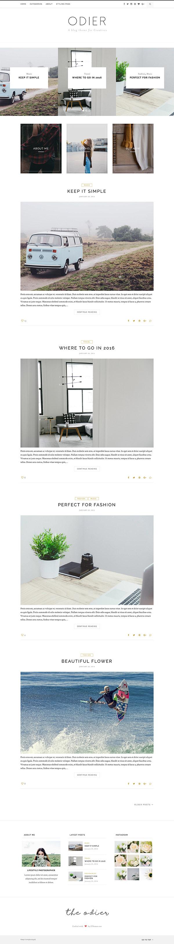 03 Odier - Simple & Elegant WordPress Blog Theme