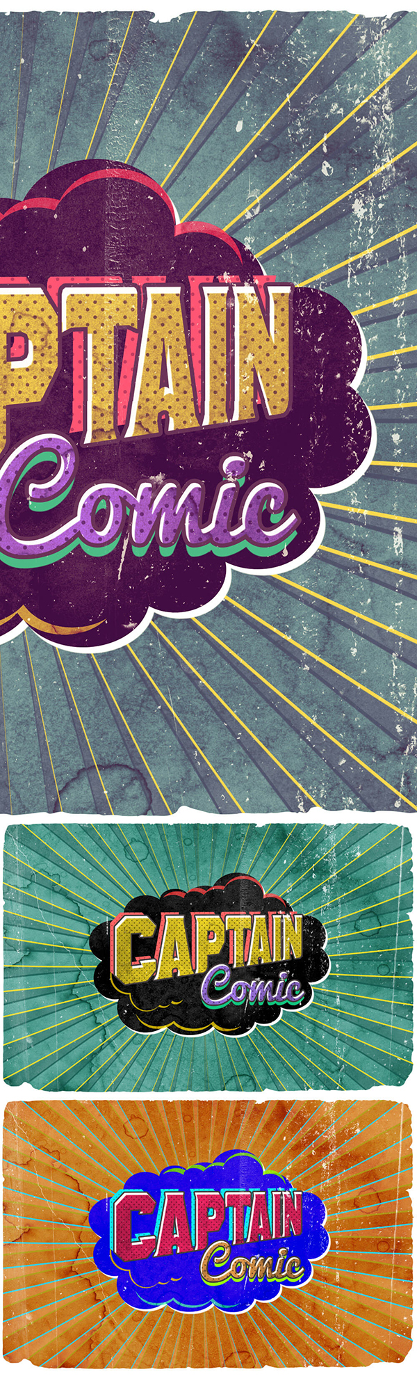 03 Vintage Poster Comic Text Effect PSD