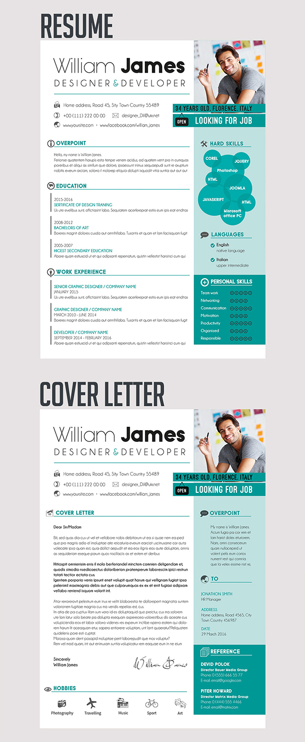 09 Free Resume Template & Cover Letter