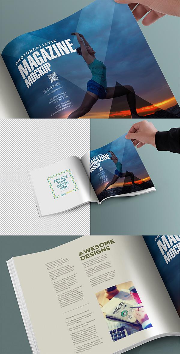 13 Square PSD Magazine Mockup