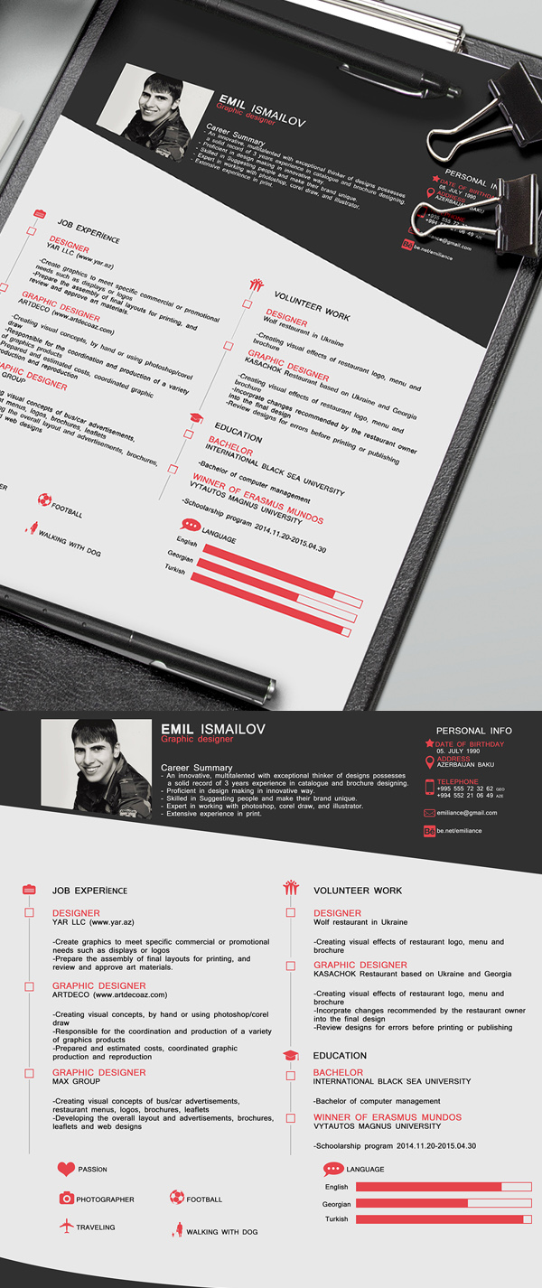 21 Free Professional CV Resume PSD Template