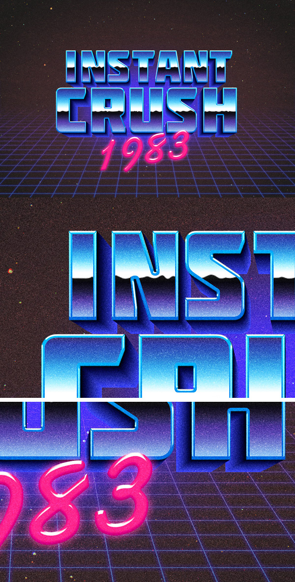 28 80s Retro Typography Effect