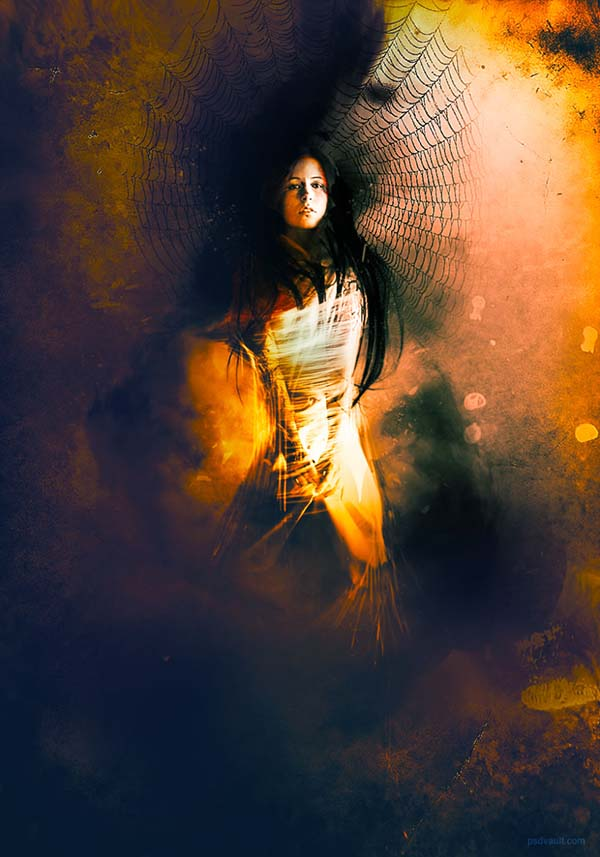 29 Create A Lady Trapped In Spider Web Surreal Scene In Photoshop