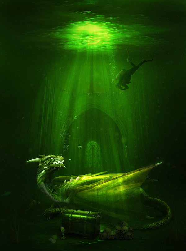 09. Create an Awesome Underwater Scene Depicting a Dragon and a Treasure Hunter