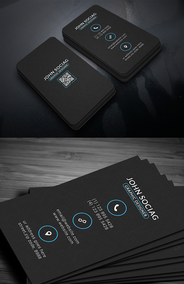 11 Black Metro Business Card