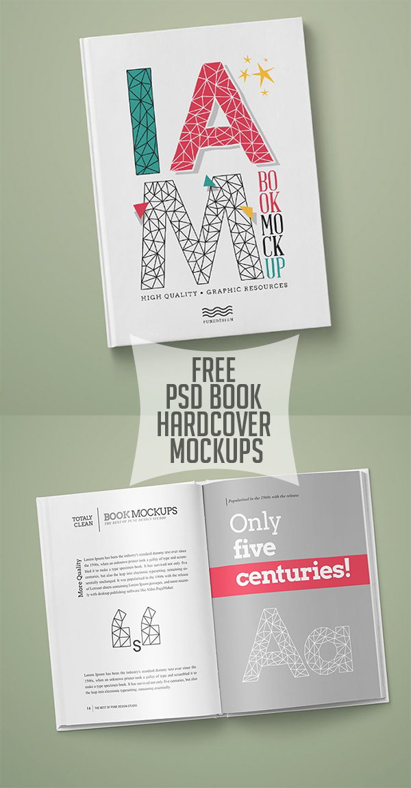 11 Free PSD Book Hardcover Mockups