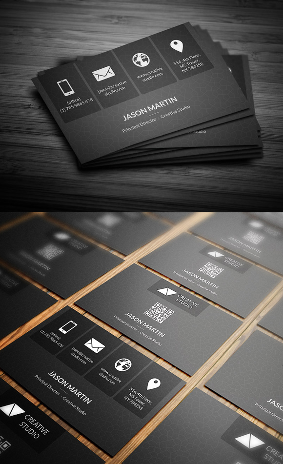 12 Metro Dark Corporate Business Card