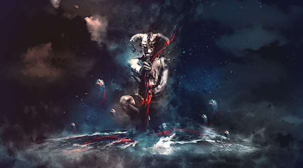 23. Create Warrior Drawing Dark Energy From Surrounding Elements Scene In Photoshop