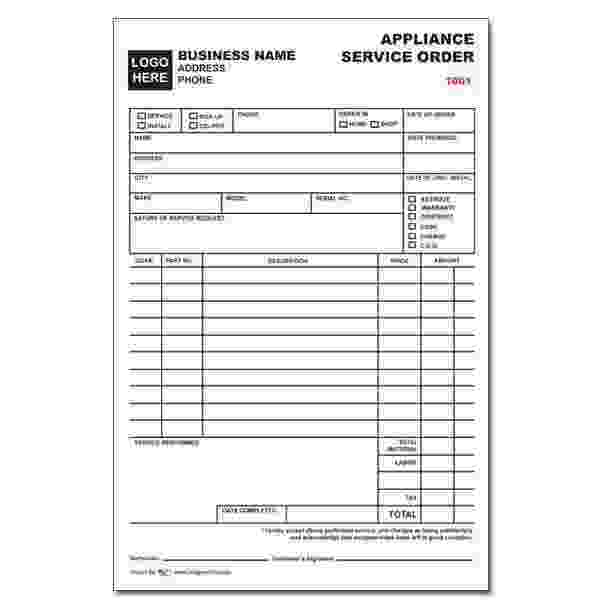 APPLIANCE REPAIR INVOICES - Custom Carbonless Forms DesignsnPrint - appraisal order form