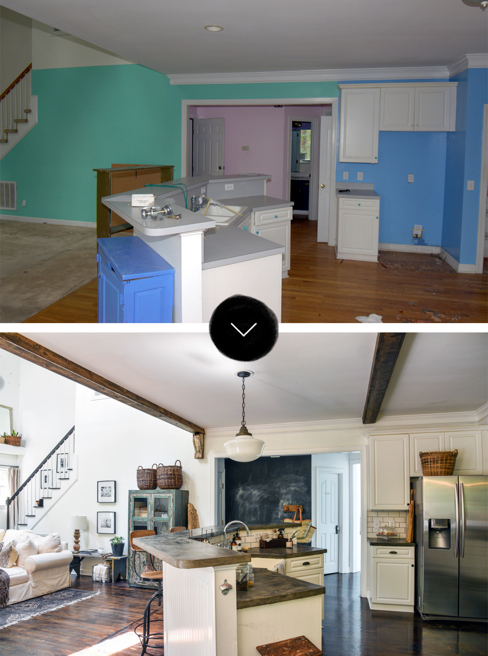 Faux Kitchen Cabinet Doors Before & After: A Reclaimed Traditional Brick Foreclosure