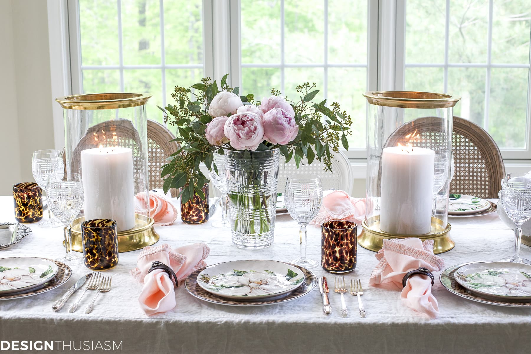 Cool Plates Mixing Animal Print And Soft Floral In A Tablescape