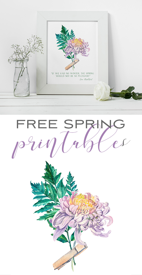 Free Printable Art for Spring Watercolor Flowers for DIY Wall Decor