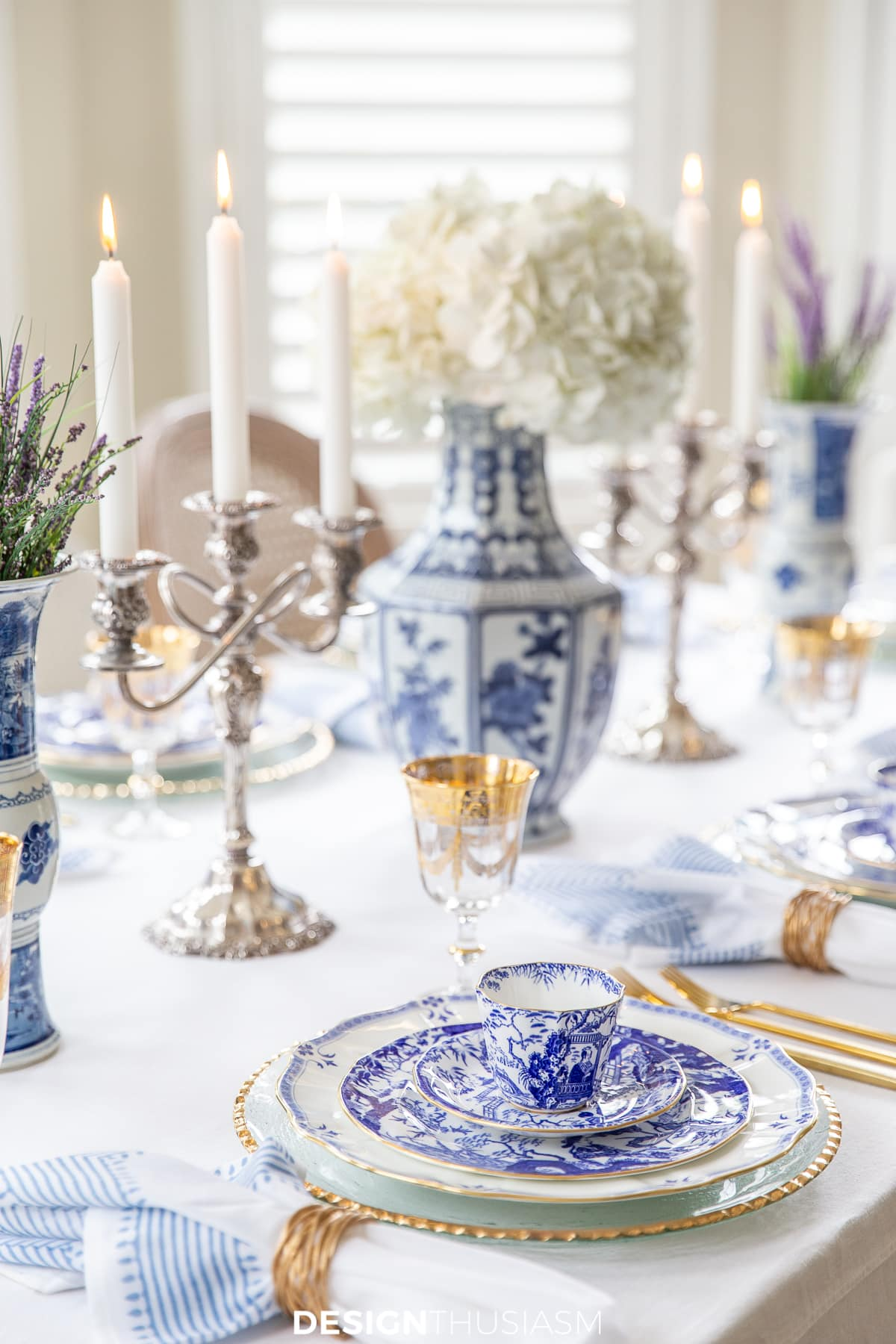 Using Blue And White China In A Hanukkah Or Christmas Table Setting