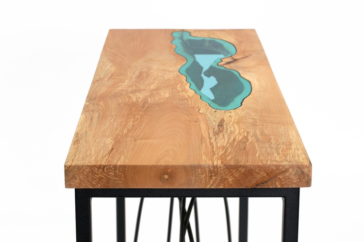 River Collection Wood Furniture Embedded With Glass