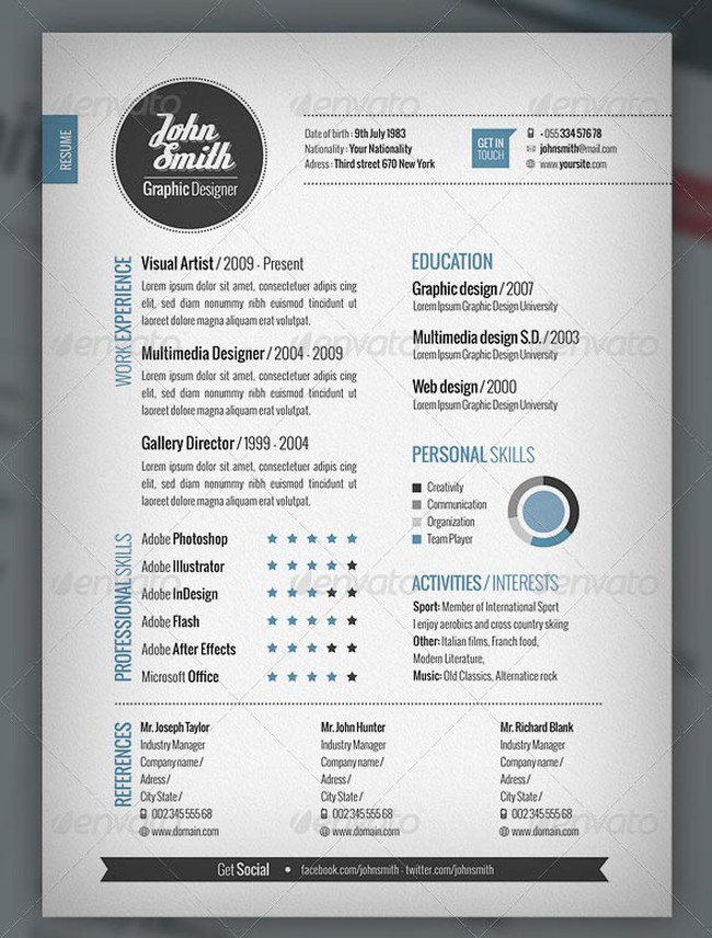 Resultado de imagem para resume design Curriculo Pinterest - resume indesign template