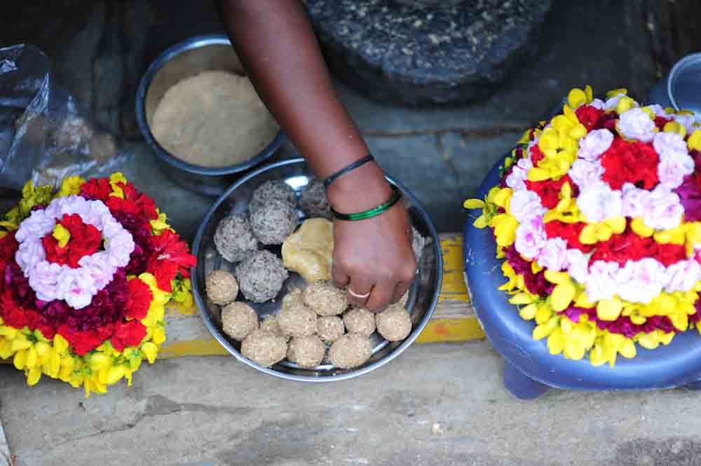 Food offering Bathukamma Telangana made using millets