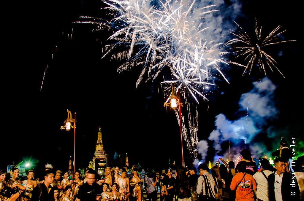 Fireworks during Loi Krathong in Bangkok