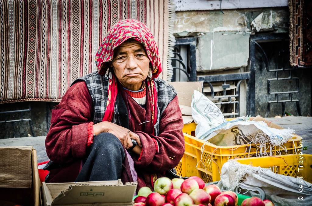 Vegetable seller portrait Leh India