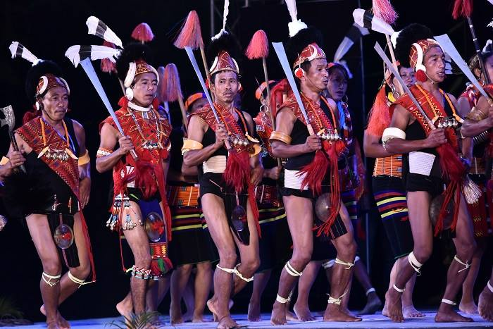 Konyak Tribe of Nagaland in their traditional dress