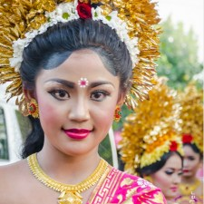 Hindu Temple Festival Parade Bali Indonesia