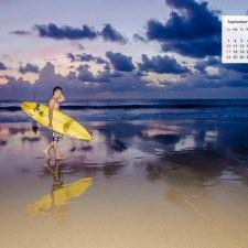 September 2017 Calendar Desktop Wallpaper - Surfer on A Bali Beach
