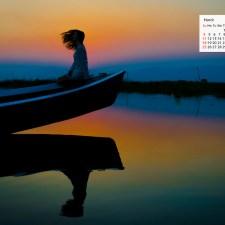 March 2018 Calendar Desktop Wallpaper - Inle Lake Myanmar