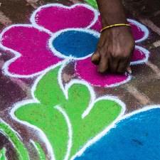 Making Rangoli Designs in India