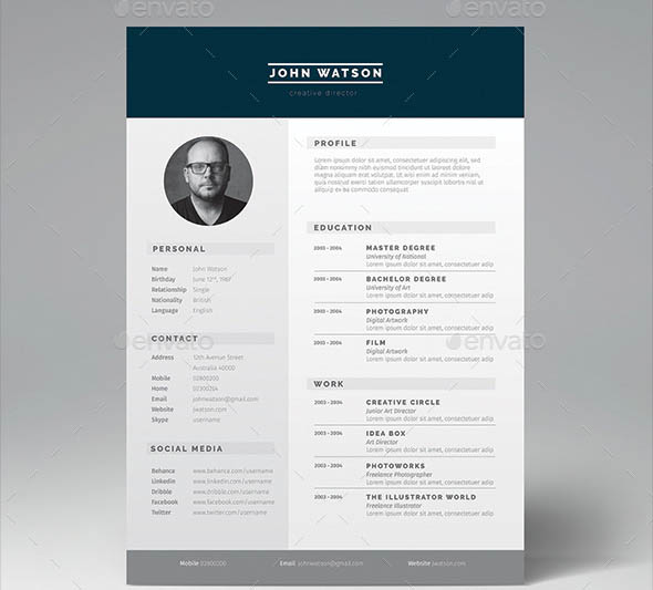 minimalist cv free download
