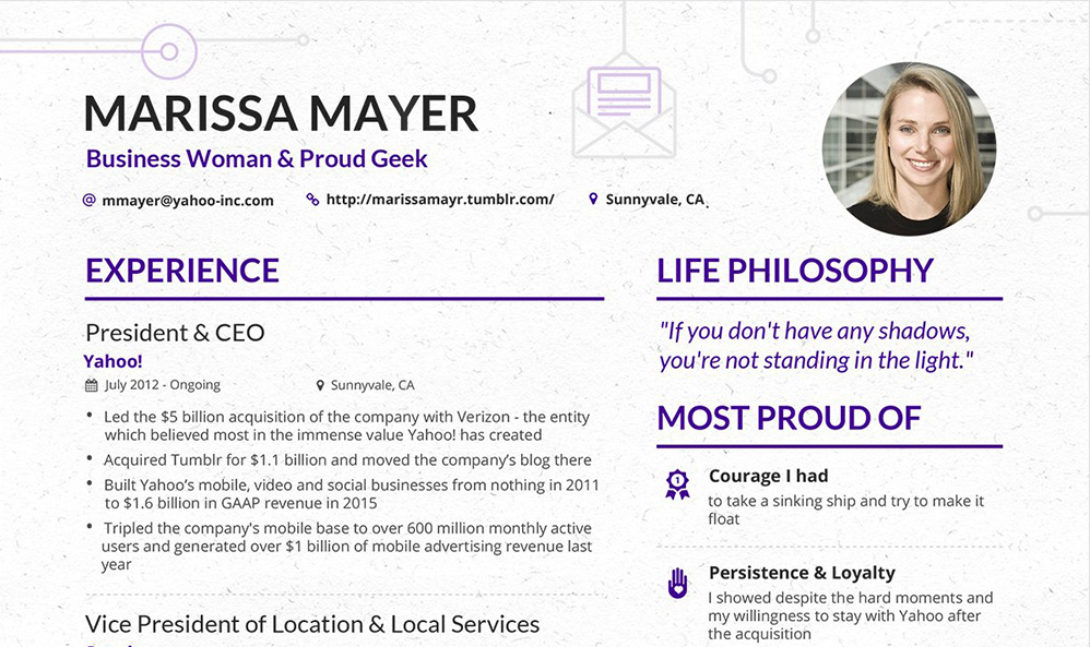 Make your content look as good as this CV from Yahoo\u0027s CEO - Content - how to make your resume look good